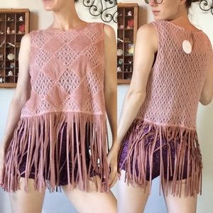 Anthropologie En Cream Fringe Burning man tunic